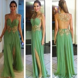 Mint Green Sheer Back Floor Length Embellished Prom Dress With Slits