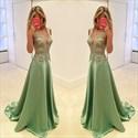 Mint Green Sheer Lace Bodice A Line Long Formal Dress