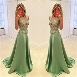 Mint Green Sheer Lace Bodice A Line Long Formal Dress