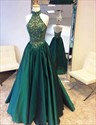 Emerald Green High Neck Backless Lace Top Ball Gown Prom Dress