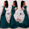 Teal Strapless Sweetheart Floor Length Mermaid Prom Dress Long