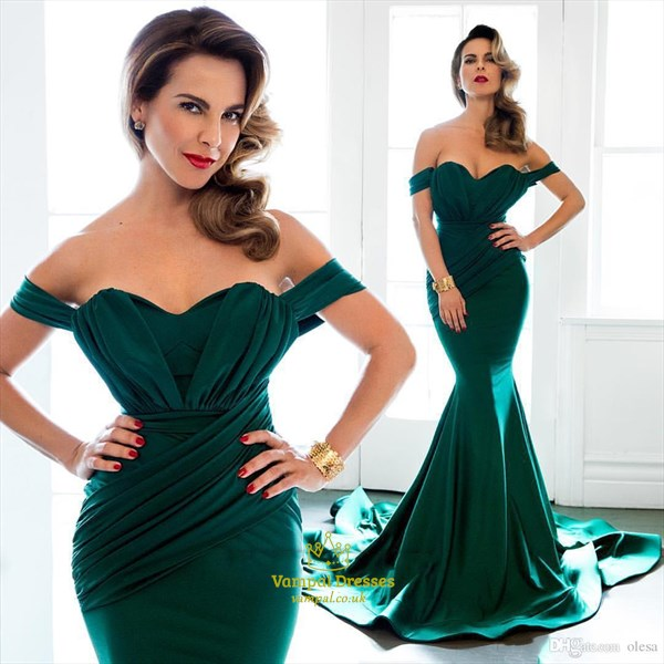 Teal Off The Shoulder Ruched Mermaid Style Prom Dress With Train