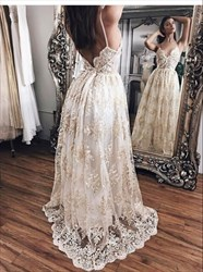 White Lace Open Back Spaghetti Strap Floor Length Formal Dress