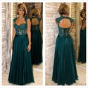 Teal Lace Corset Bodice Cap Sleeve Backless Long Formal Dress