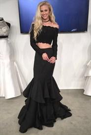 Black Lace Top Two Piece Long Sleeve Mermaid Formal Dress