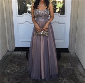 Grey Strapless Sweetheart Long Beaded Top Chiffon Prom Dress