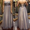 Grey Strapless Sweetheart Long Beaded Top Chiffon Prom Dress