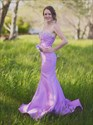 Lilac Strapless Sheer Beaded Back Mermaid Prom Dress With Train