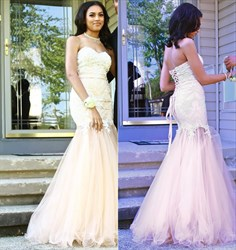 Pink Strapless Lace Bodice Floor Length Mermaid Tulle Prom Dress
