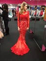 Red Illusion Lace Long Sleeve Backless Mermaid Formal Dress