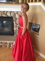 Red Spaghetti Strap Two Piece Ball Gown Prom Dress With Pockets