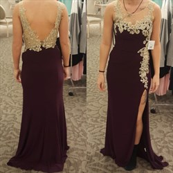Burgundy Sheer Lace Applique Backless Prom Dress With Side Cutouts