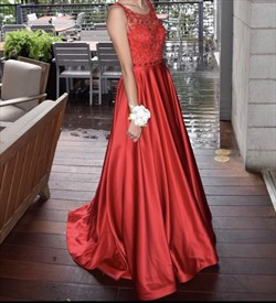 Red Lace Bodice Backless Sleeveless Long Ball Gown Formal Dress