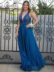 Teal V Neck Lace Bodice Chiffon Backless Long Bridesmaid Dress