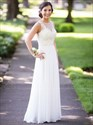 Light Yellow Floor Length Bridesmaid Dress With Sheer Lace Bodice