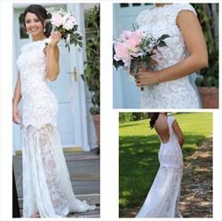 White Sleeveless Open Back Lace Sheath Long Wedding Dress
