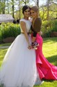 White Short Sleeve Two Piece Sequin Embellished Tulle Ball Gown