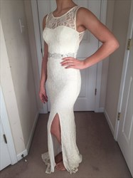 White Sleeveless Lace Backless Floor-Length Dress With Side Cutouts