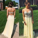 Yellow Strapless Embellished Open Back Illusion Prom Dresses