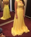 Yellow Lace Embellished Open Back Cap Sleeve Long Prom Dress
