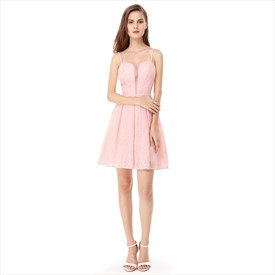 Pink Spaghetti Strap Short Lace Fit And Flare Dress With Sheer Front