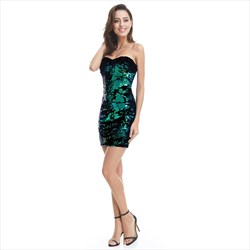 Green Short Sleeveless Sequin Embellished Sheath Party Dress