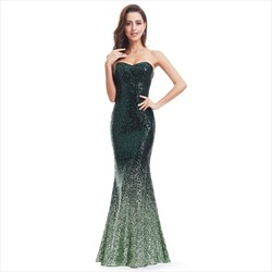 Green Strapless Sequin Embellished Mermaid Floor Length Prom Dress