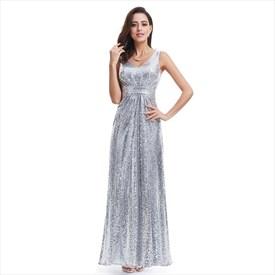 Silver V-Neck Sleeveless Ruched Sequin Floor Length Formal Dress