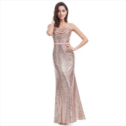 Pink Spaghetti Strap Sequin Backless Sparkly Long Formal Dress