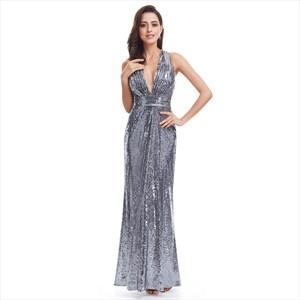 Grey Sparkly Backless Floor Length V-Neck Sequin Evening Dress