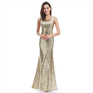 Gold Sequin Embellished Sleeveless Open Back Long Mermaid Formal Gown