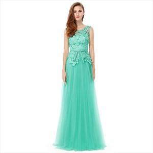 Mint Green Lace Bodice Chiffon Skirt Backless Long Bridesmaid Dress