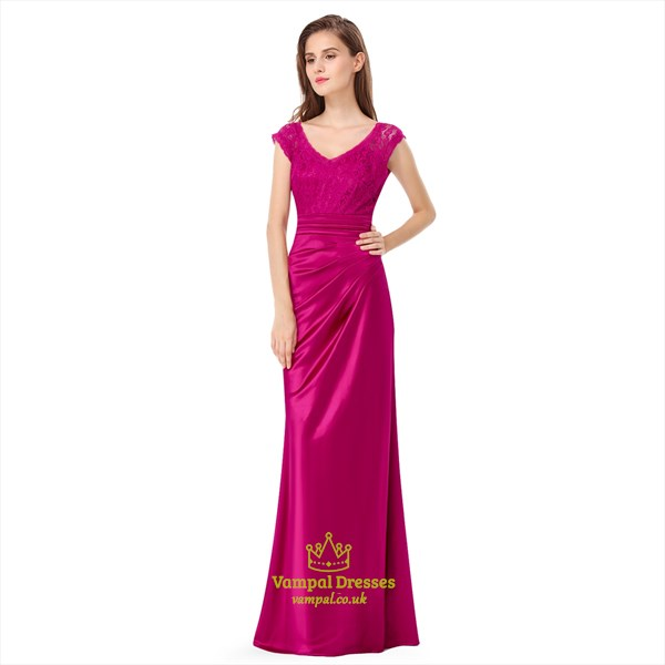 Hot Pink Cap-Sleeve V-Neck Ruched Lace Top Long Formal Dress