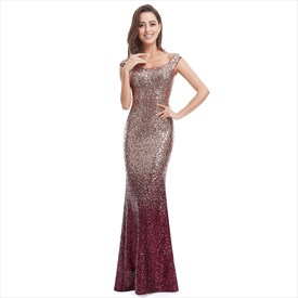 Burgundy Scoop Neck Sequin Embellished Mermaid Long Formal Gown