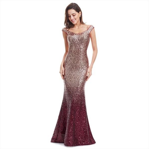 Burgundy Scoop Neck Sequin Embellished Mermaid Long Formal Gown