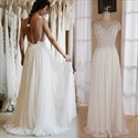 Ivory Sheer Lace Top A Line Backless Long Wedding Dresses