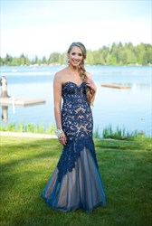 Navy Blue Strapless Sweetheart Lace Embellished Long Formal Gown
