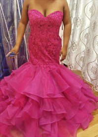 Hot Pink Strapless Sweetheart Lace Bodice Mermaid Evening Dress
