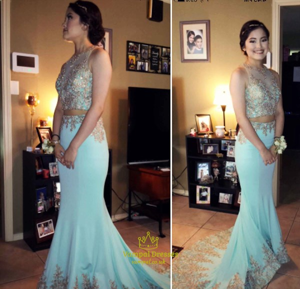 Baby Blue Embroidered Illusion Top Two Piece Full Length Prom Dress