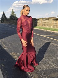 Burgundy Embellished High Neck Long Sleeve Mermaid Formal Dress