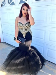 Black Strapless Lace Embellished Top Tulle Mermaid Formal Dress