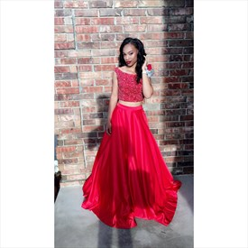 Red Two Piece Beaded Top Cap Sleeve Full Length Formal Dress