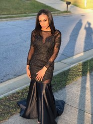 Black Sheer Embellished Long Sleeve Open Back Mermaid Formal Dress