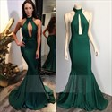 Emerald Green High Neckline Mermaid Prom Dress With Keyhole Front