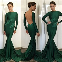Emerald Green Lace Embellished Long Sleeve Backless Formal Dress