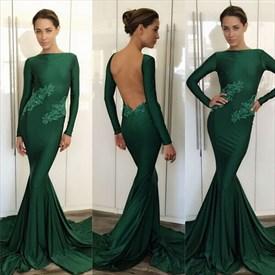 Emerald Green Lace Embellished Long Sleeve Backless Formal Dress