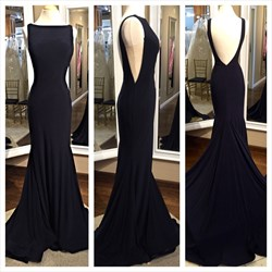 Black Open Back Sleeveless Floor Length Prom Dress With Train