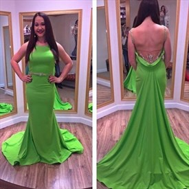 Green Open Back Bead Embellished Sleeveless Prom Dress With Train