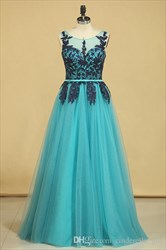 Turquoise Sleeveless Long Tulle Formal Gown With Lace Applique Top