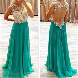 Turquoise A Line Sheer Beaded Bodice Open Back Long Prom Dress